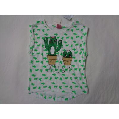 92-es fehér kaktuszos póló - Kiki & Koko - ÚJ