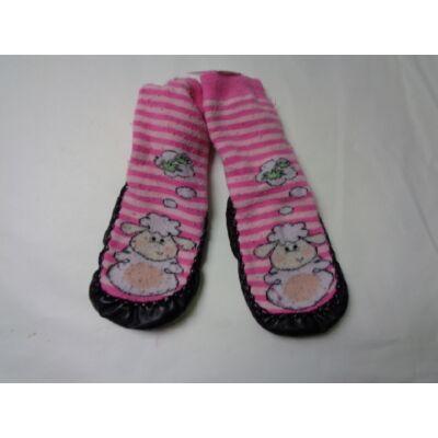 Rózsaszín báránykás talpas zokni