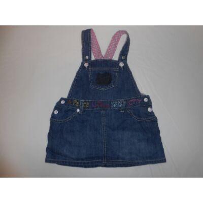 80-as kék kantáros farmerruha - Hello Kitty