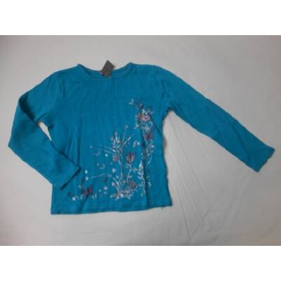128-as kék virágos csillogós pamutfelső - Dopodopo