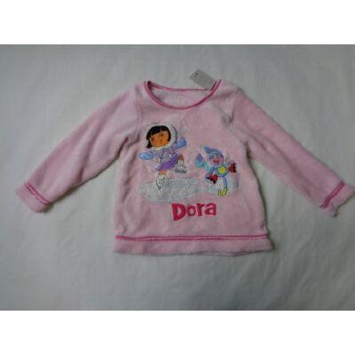 86-92-es rózsaszín szőrmés pulóver - Dóra a felfedező