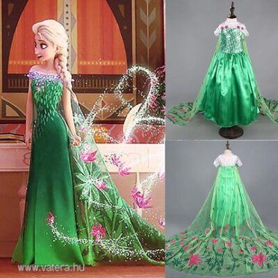 128-134-es zöld Elza jelmez - Frozen, Jégvarázs - ÚJ