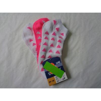 39-42-es rózsaszín-fehér mintás zoknik, 3 db egyben - ÚJ