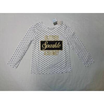 98-as fehér pöttyös csillogó pamutfelső - Primark - ÚJ