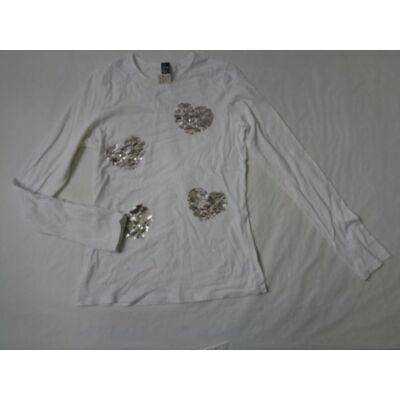 164-es fehér szivecskés flitteres pamutfelső - Zara
