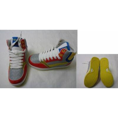 30-as szürke-piros magasszárú cipő - ÚJ
