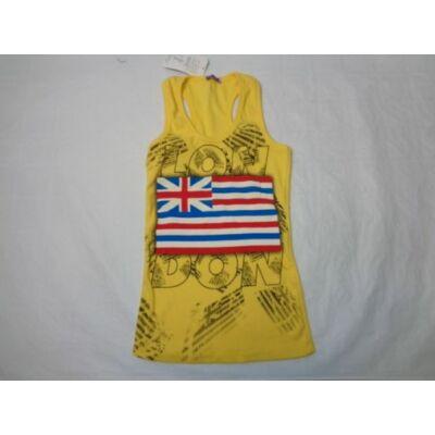 158-as sárga ujjatlan bordás póló - ÚJ
