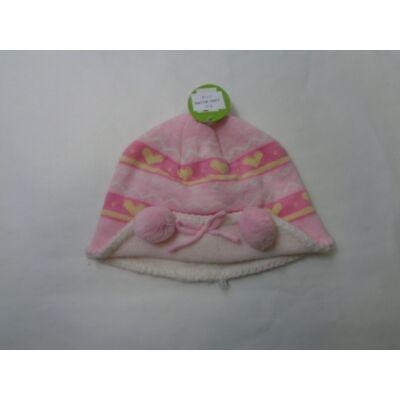 48-52 cm-es fejre szivecskés rózsaszín téli sapka - ÚJ