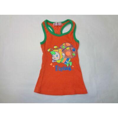 122-es narancssárga bordás lányka póló - ÚJ