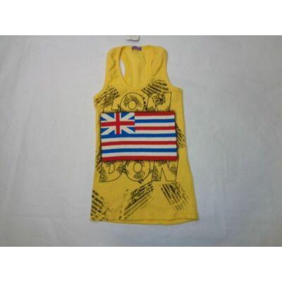 164-es sárga bordás ujjatlan lány póló - ÚJ