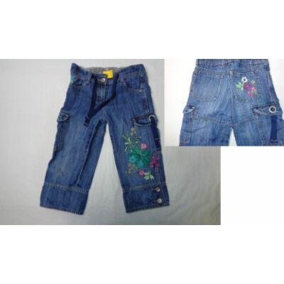 122-es kék hímzett virágos farmer térdnadrág - Next