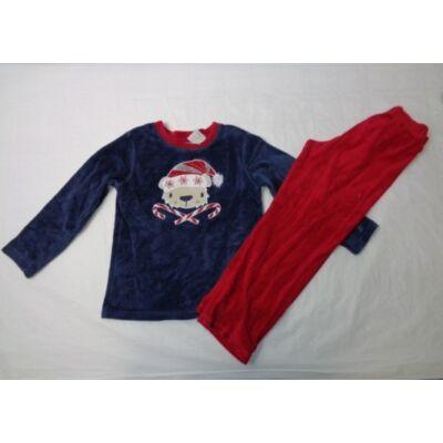 110-116-os piros-kék plüss pizsama