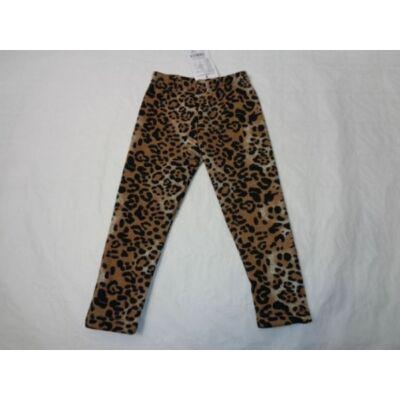 98-as barna leopárdmintás szőrme bélésű leggings - ÚJ