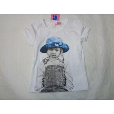 98-as fehér kislányos póló - ÚJ