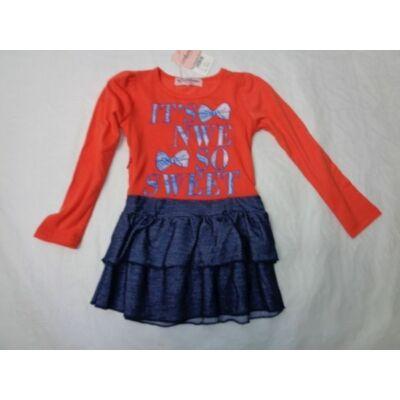 98-as piros-kék fodros ruha - ÚJ
