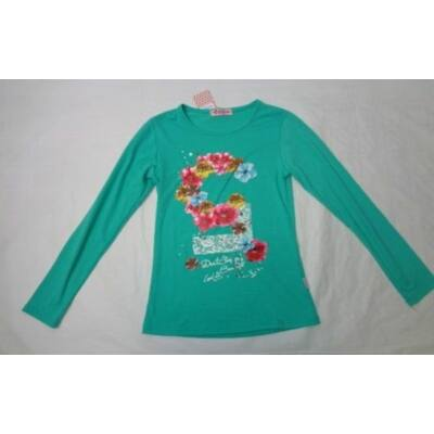164-es zöld virágos pamutfelső - Arino - ÚJ