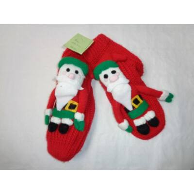 33-36-os piros kötött télapós zokni