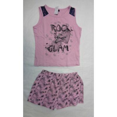 122-128-as rózsaszín feliratos ujjatlan pizsama