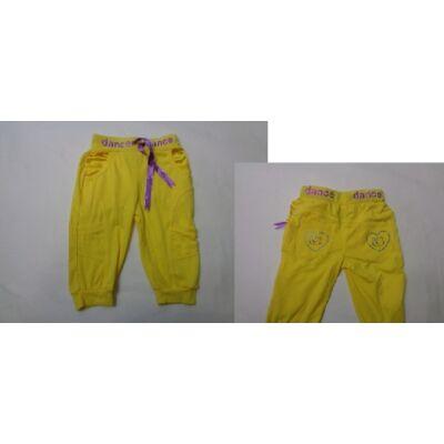 110-es sárga lány pamut térdnadrág - ÚJ