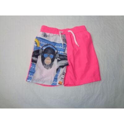 104-110-es rózsaszín majmos lány hálós bélésű short  - F&F