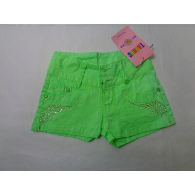 110-116-os élénkzöld lány vászonshort - ÚJ