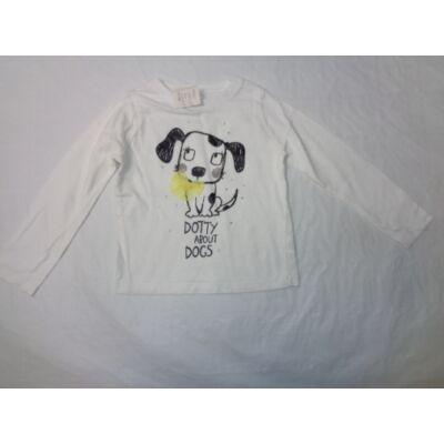 86-92-es fehér kutyás flitteres lány pamutfelső - F&F