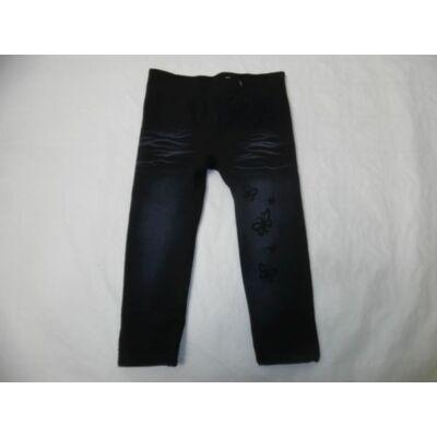 92-es fekete pillangós szőrmével bélelt leggings - ÚJ