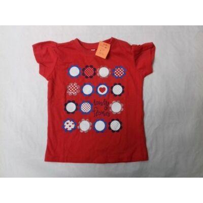 92-98-as piros virágos póló