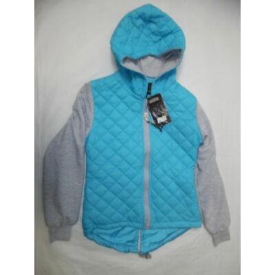 164-es lány kék steppelt átmeneti kabát - ÚJ