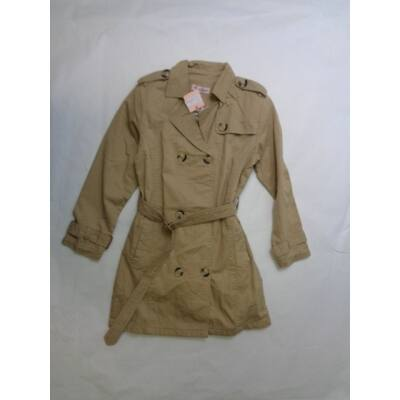 152-es drapp vászon átmeneti kabát lánynak - ÚJ
