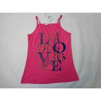 164-es rózsaszín feliratos csillogó pántos póló - ÚJ