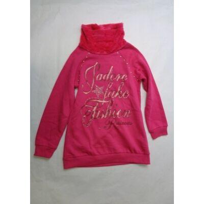 164-es szőrmés nyakú pink pulcsi - F&D - ÚJ