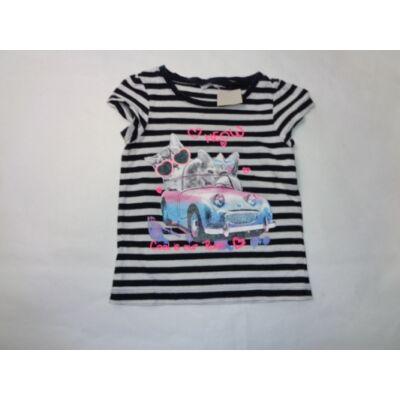 98-as fekete-fehér csíkos cicás póló