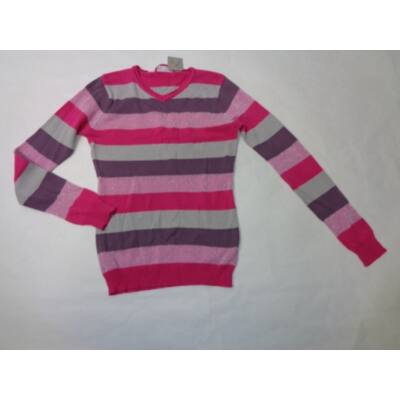 140-es rózsaszín csillogó csíkos kötött pulóver - X-Mail