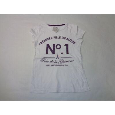128-134-es fehér-lila feliratos póló - F&F