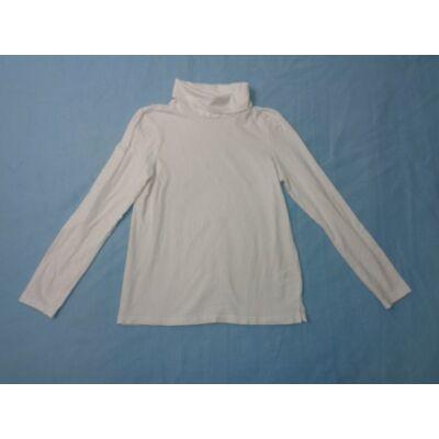 134-140-es fehér garbónyakú lány pamutfelső