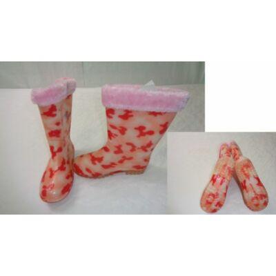 34-es rózsaszín terepmintás bélelt gumicsizma - ÚJ