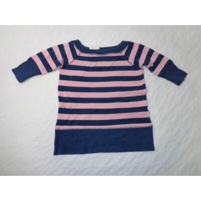 116-os rózsaszín-kék csíkos felesujjú pulcsi - Next