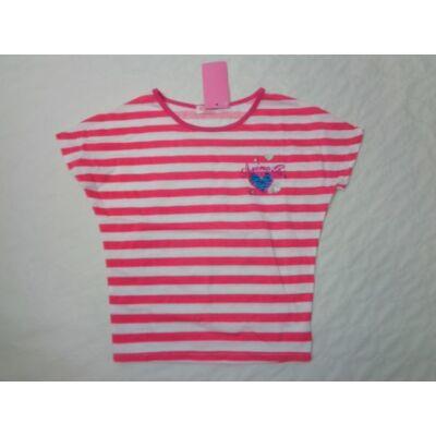 152-es pink csíkos lány póló - Arino - ÚJ