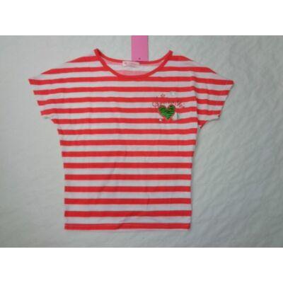 164-es piros csíkos lány póló - Arino - ÚJ