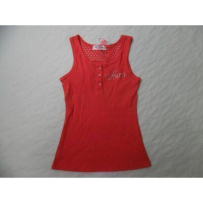 152-es piros flitteres bordás ujjatlan póló - ÚJ