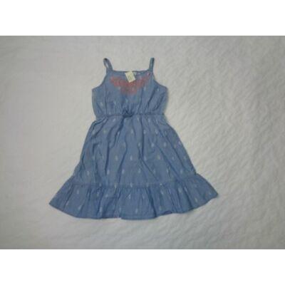 116-os kék hímzett pántos vékony farmerruha - PS
