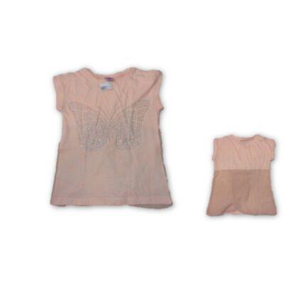 128-134-es barackszínű strasszköves póló -  F&F