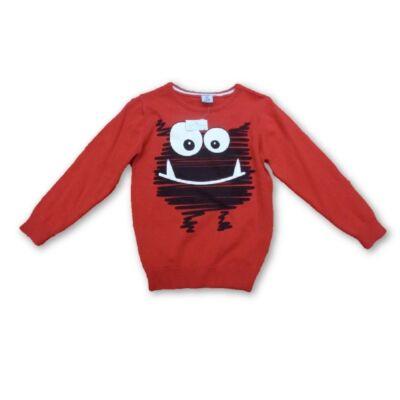 110-es piros kötött szörnyecskés pulcsi - Kiki & Koko - ÚJ
