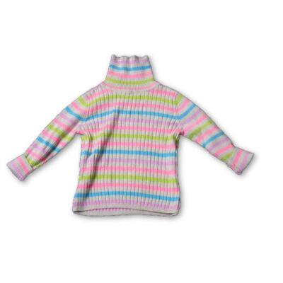 86-92-es színes csíkos kötött lány pulóver - George