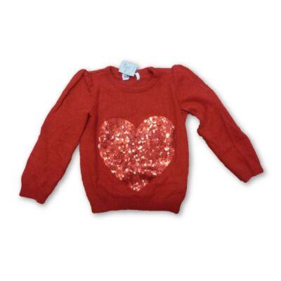 92-98-as piros szivecskés kötött pulóver - H&M
