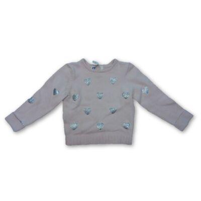92-98-as rózsaszín szivecskés kötött pulóver - H&M