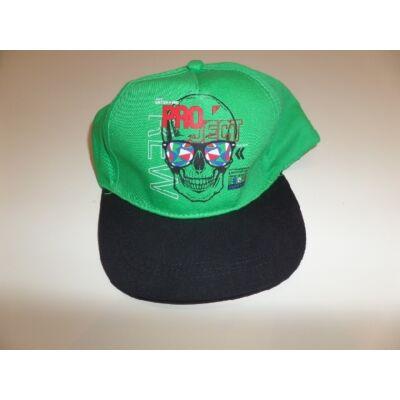 50-52 cm-es fejre zöld-fekete halálfejes baseball sapka - ÚJ