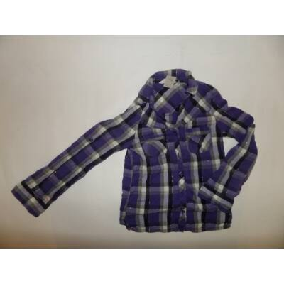 110-116-os lila-fekete kockás hosszúujjú blúz - H&M