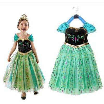 128-134-es zöld Anna jelmez - Frozen, Jégvarázs - ÚJ